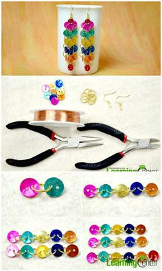 DIY Rainbow Dangle Button Earrings - DIY Earrings - 101 DIY Earring Ideas To Try Your Hands At - DIY & Crafts