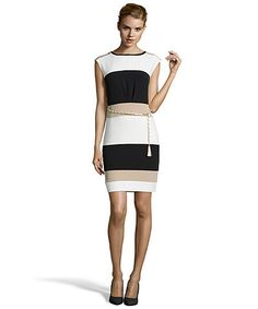 SD Collection neutral and ivory stretch crepe colorblock sheath dress