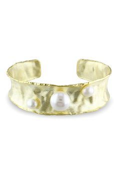 Brushed Gold Pearl Bangle <3