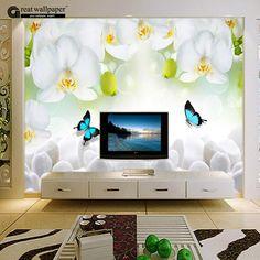 Encontre mais Papéis de parede Informações sobre Flores de orquídea borboleta Branca 3D foto papel de parede mural para sala de estar, murais de parede chineses, de alta qualidade base de papel, papel direto China Fornecedores, Barato papel unidade flash usb de Great wall paper em Aliexpress.com