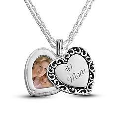 This piece features a swing heart charm with dazzling scroll border, matching the heart photo pendant. We made it for her to love, but it's your words that make it perfect.