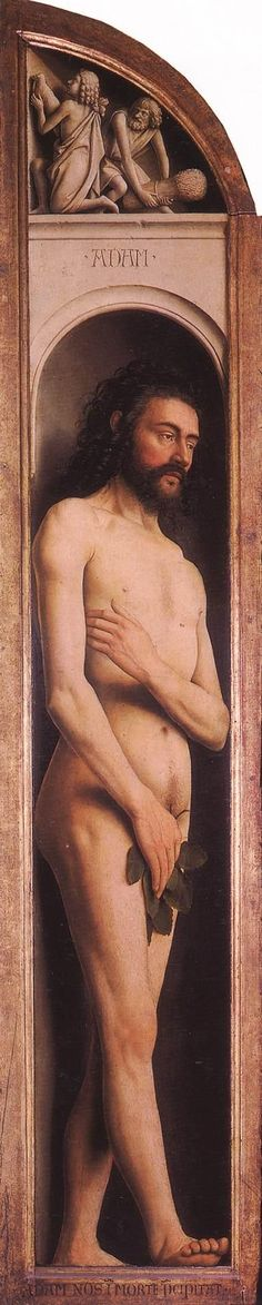 JAN VAN EYCK (1395-1441) - The Ghent Altarpiece - Adam, Cain and Abel - 1432. Sint-Baafskathedraal (Cathedral of St Bavo), Gent, Belgium.