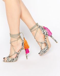 Daisy Street Tassel Ghillie Lace Up Heeled Sandals