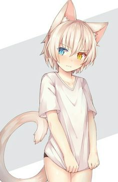 Imagen de anime girl, beautiful, and cat
