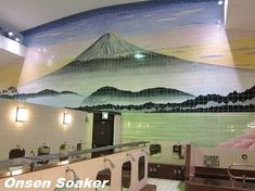 The bathroom for men and ladies share the big wall painting of Mt. Fuji. The left wall divide men's bath.  E ven if you're on a business t...