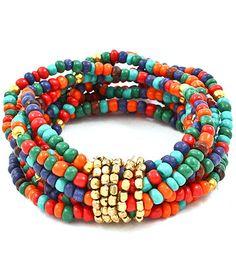 Multi Color Stranded Bead Stretch Bracelet