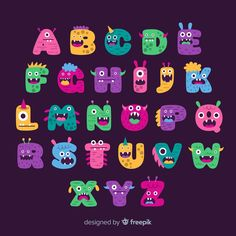 Cute Fonts Alphabet, Alphabet Letters Design, Hand Lettering Alphabet, Alphabet Stencils, Alphabet And Numbers, Monster First Birthday, Monster 1st Birthdays, Toys Logo, Doodle Fonts