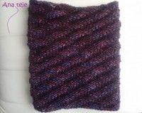 Cuello en espiral  tejido a dos agujas con malabrigo mecha en color púrpura