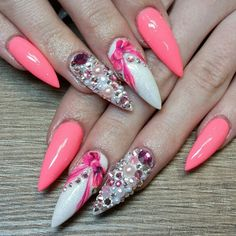 Credit to @juliannea_nails @juliannea_nails @juliannea_nails #swarovski #stilettonails #stiletto #luxury #bow #neon #neonnails #gelnails #longnails #white #glitter #instanails #nailart #nailporn #nailstagram #nailswag #nailaddict #juliannea #misteromilano