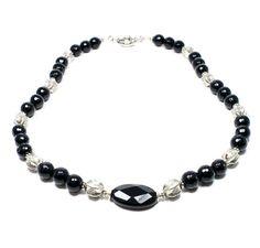 Onyx Necklace  Black Bead Necklace  Beadwork by BigSkiesJewellery