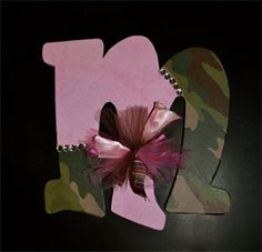 A Little Pink in a World of Camo Hair Bow Holder  Pink and Camo added with hand-tied Ribbon and Tulle