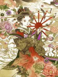 Check out this awesome piece by Breadmonster Kai on Samurai, Oriental, Geisha Art, Acrylic Painting Techniques, Japanese Aesthetic, Manga Characters, Illustration Girl, Japanese Art, Art Sketches