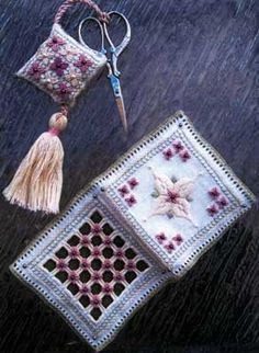 "NEWEST!  This set of accessories  is inspired by Kathryns II Giardino Antico design (0814) done in Punto Antico embroidery.  The Fob starts with a 4"" x 6"" piece of fabric.  The Needlebook starts with a 8"" x 11"" piece of fabric.   Supplies required:   32-count Antique White Belfast (3609-101)   DMC"