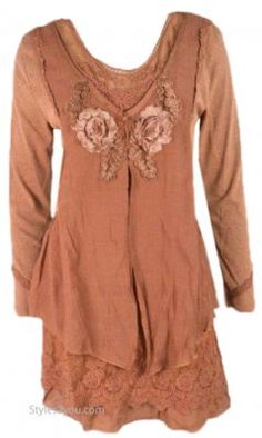 Madonna Layered Victorian Vintage Blouse In Rust