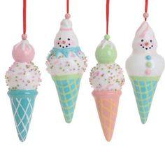 RAZ Pastel Ice Cream Cone Christmas Ornament Set of 4  $14.40