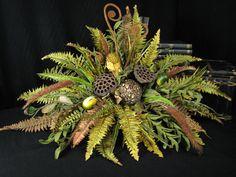 Feather Ball Fern and Pod Mantel Topper Floral Arrangement