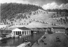 "April 14, 1834, the Pennsylvania legislature officially changed the name of the boomtown at the intersection of the Western Division of the Main Line Canal and Allegheny Portage Railroad from ""Conemaugh"" to ""Johnstown."" Joseph Johns had given his town the name of Conemaugh in his 1800 charter, but over the years people began calling it Johnstown out of respect to Johns. This sketch by George Storm shows the Johnstown canal basin. (dkb)"