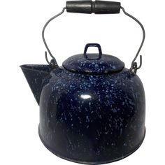 Vintage Cobalt Blue & White Graniteware Tea Kettle