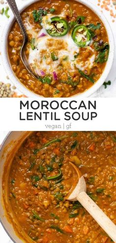 This Detox Moroccan Lentil Soup is a simple, healthy and hearty meal that's great for digestion and the liver. Easy to make, packed with protein and delicious! Easy homemade recipe that is a great dinner idea and perfect for meal prep! Vegan and gluten-free. Veggie Recipes, Whole Food Recipes, Vegetarian Recipes, Cooking Recipes, Healthy Recipes, Dinner Recipes, Vegan Lentil Recipes, Dinner Ideas, Vegan Crockpot Recipes