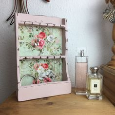 Vintage Wooden Wall Mounted Necklace/Bracelet Display in Antoinette Pink with Vintage Pink Rose on Sage Green Fabric Hanging Necklaces, Bracelet Display, Jewellery Boxes, Jewelry Storage, Green Fabric, Green Backgrounds, Wooden Walls, Home Decor Items, White Roses