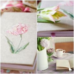 """Aus dem Buch """"All die schönen Dinge"""" #acufactum #regnerischetage #gemütlich #sticken #kreuzstich #sommer #schön #lecker #tee #blumen #tulpe #buch #rainydays #cozy #embroider #crossstitch #summer #pretty #tea #flowers #book Cross Stitch, Gift Wrapping, Embroidery, Table Decorations, Handmade, Gifts, Furniture, Home Decor, German"""