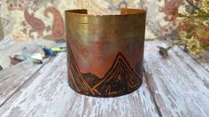 Handmade salvaged copper large etched statement cuff with mountain range image Jewelry Design, Unique Jewelry, Cuff Bracelets, Copper, Trending Outfits, Handmade Gifts, Etsy, Vintage, Kid Craft Gifts