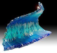 'standard' glass wave sculpture as centerpiece