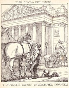 """London Cries & Public Edifices"" by John Leighton (1851): ""Here is a poor Irish boy endeavouring to dispose of his oranges to some passengers outside an omnibus."""