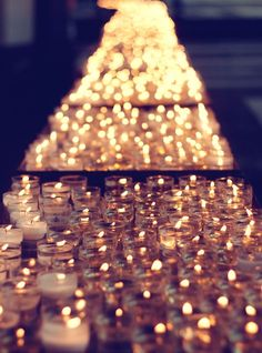 Candle-lit table runner may put off some heat... but gorgeous