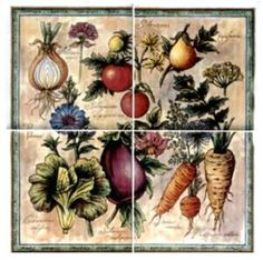 Vegetable Assortment ~ Ceramic Tile ~ Range Stove Backsplash ~ Kitchen Tile Art~Custom Tile Mural~Decorative Tiles 10012
