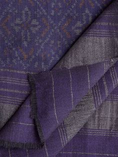 Buy Blue Purple Wool Zari Border Handwoven Single Ikat Shawl Accessories Shawls Radiance Woolen Online at Jaypore.com