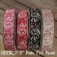 "USDR Valentine collection 7/8"" grosgrain ribbon, pink foil swirls USDR, US Designer valentine ribbon, crafting supplies, hair bow supply by JJsBowsTuTusAndMore on Etsy"