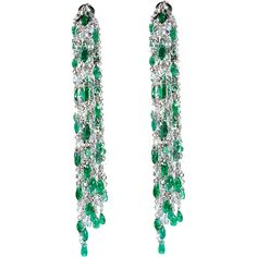 Sidney Garber Emerald & Diamond Waterfall Earrings (828.685.270 IDR) ❤ liked on Polyvore featuring jewelry, earrings, accessories, diamond earrings, 18k jewelry, 18k diamond earrings, emerald earrings and 18k earrings