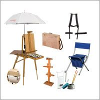 Plein Air Canvas Set with Jullian Escort French Easel - Jullian Escort French Easel Sahara Pack Stool in Ultramarine Blue Alex Hardy French Easel Carrier Straps Soleil Travers Umbrella Jullian Wet Canvas Carrying Case Guerrilla Painter French Easel Accessory Set