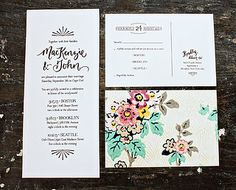 the card on the left could list ceremony + reception details, with matching RSVP card