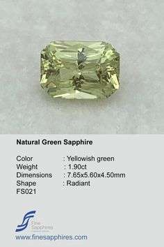 Green Sapphire is soothing to the eyes and is known as a stone of tranquility, encouraging vivid dream recall and enhancing one's spiritual vision. Sapphire Color, Green Sapphire, Vivid Dream, Ring Designs, Spiritual, Shapes, Engagement Rings, Eyes, Gemstones