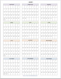 "Free printable ""Year at a Glance"" calendar for 2016. You'll also find ..."