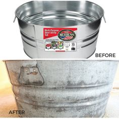 Antique metal bucket - How To Age Galvanized Metal – Antique metal bucket Painting Galvanized Metal, Galvanized Buckets, Galvanized Steel, Metal Buckets, Galvanized Tin Walls, Galvanized Decor, Metal Projects, Metal Crafts, Diy Projects