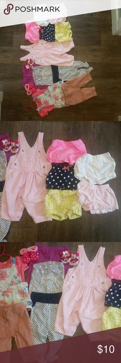 Bundled Lot of baby girls clothes Includes 1 complete outfit, 6 pairs of pants, 1 pair of overalls, 2 pairs of booties & 5 pairs of shorts. Osh kosh, carters, garanimals, baby b'gosh, child of mine, & other brands. OshKosh B'gosh Bottoms