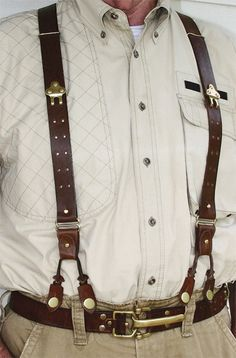 Classic leather button suspenders w/ brass buttons. Perfect for jeans or khakis. Buy these leather braces today. Leather Braces, Leather Belts, Leather Tooling, Leather Men, Leather Jackets, Pink Leather, Button Suspenders, Leather Suspenders, Groomsmen Accessories