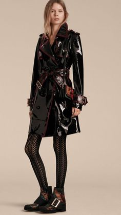 Black Unlined Patent Leather Trench Coat - Image 8