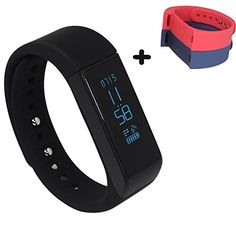 LUCOG I5 Plus 3.0 Smart Bracelet Tracker w/ Calorie Burn & Sleep Monitor   2 Strap (Blue   Red) >>> You can find more details by visiting the image link.