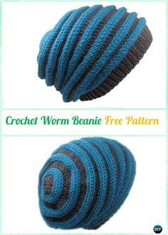 Crochet Worm Beanie Hat Free Pattern Instruction