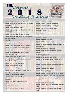 The Ultimate 2018 Book Reading Challenge! This looks like fun! Can't wait to get started! ❤️