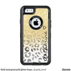 Girly monogram gold glitter leopard watercolor OtterBox iPhone 6/6s case
