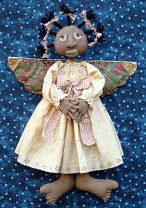 ANGEL DUMPLIN'-e-pattern,primitive,pattern,cloth,doll,cloth doll,doll pattern,angel,black doll,black angel,Christmas