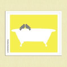 yellow and gray art bathroom art decor love bird on bathtub vintage inspired