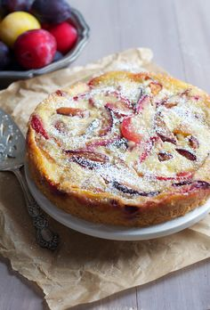 Spiced Plum Custard Cake...