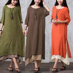 Plus Women Boho Cotton Linen Long Sleeve Loose Gypsy Ethnic Maxi Dress Blouse DS…