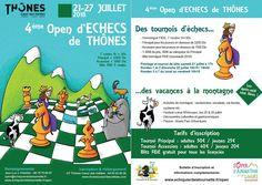 Le 4e open d'#échecs de #Thônes (Haute-#Savoie) aura lieu du 21 au 27 juillet 2018. Un tournoi d'échecs et des vacances à la montagne pour visiter le massif des Aravis à 20mn d'Annecy et de son lac